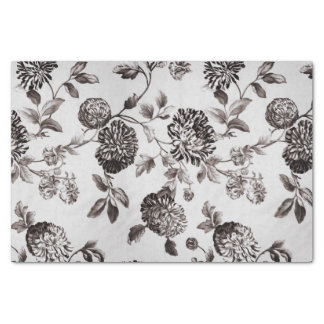 Buff Gray Taupe Vintage Floral Toile No.2 Tissue Paper