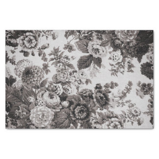 Buff Grey Taupe Vintage Floral Toile No.3 Tissue Paper