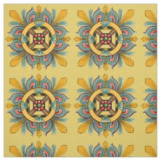 Buff Victorian Tile Design Fabric