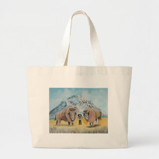Buffalo Bill illustration wild west Large Tote Bag