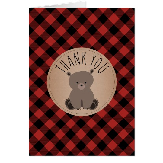 Buffalo Plaid Bear Cub Baby Shower Thank You Card