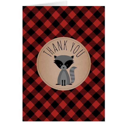 Buffalo Plaid Racoon Baby Shower Thank You Card
