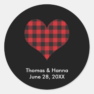 Buffalo Plaid Wedding Black Red Heart Classic Round Sticker