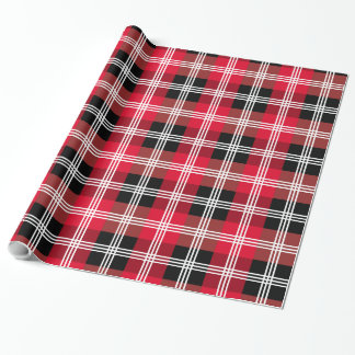 Buffalo plaid with white stripes wrapping paper