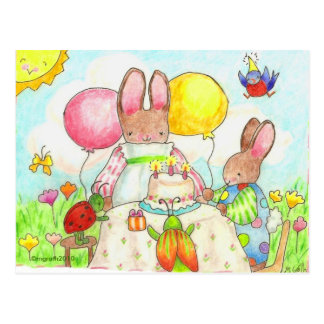 bug and bunny birthday party postcard