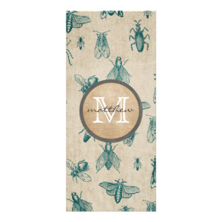 Bugs and Insects Background Monogram Custom Rack Card