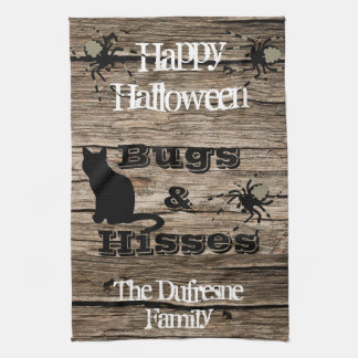"""Bugs & Hisses"" Rustic Halloween Kitchen Tea Towel"