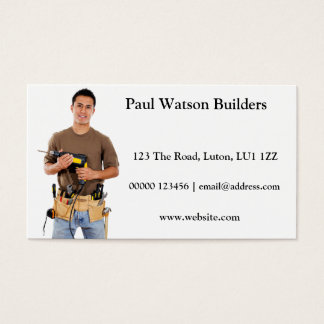 Builder With Drill Business Card