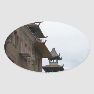 Buildings in Chinatown, San Francisco Oval Sticker