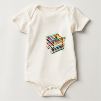 Built square construction of colored crayons romper