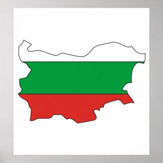 Bulgaria Flag Map full size Poster