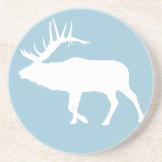 Bull elk white coaster