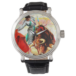 Bull Fight Bullfighter Vintage Mexico Poster Art Watch