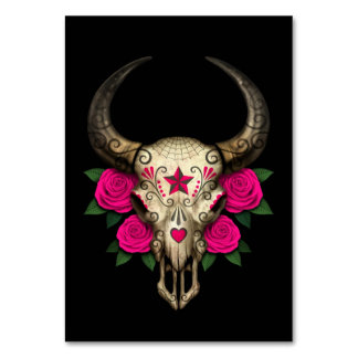 Bull Sugar Skull with Pink Roses on Black Table Card
