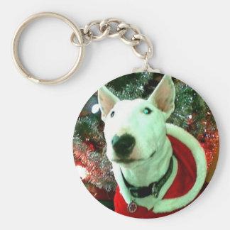 bull terrier christmas key ring