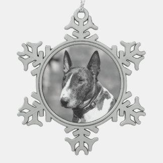 Bull Terrier dog Snowflake Pewter Christmas Ornament