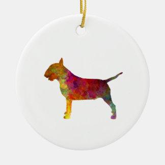 Bull terrier in watercolor round ceramic decoration