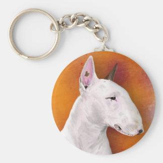 Bull Terrier Painting on Orange Background Key Ring