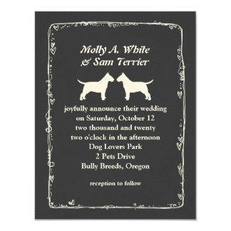 Bull Terrier Silhouettes Wedding Announcement