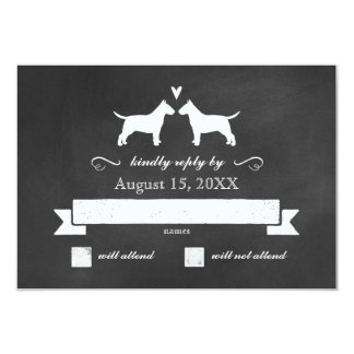 Bull Terrier Silhouettes Wedding Reply RSVP Card