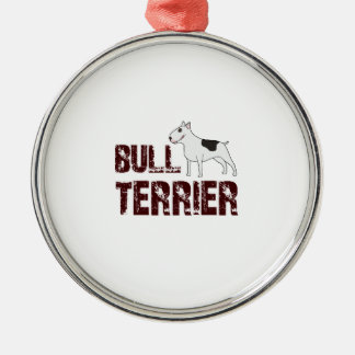 Bull terrier Silver-Colored round decoration