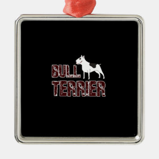 Bull terrier Silver-Colored square decoration