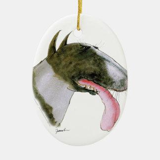 Bull Terrier, tony fernandes Ceramic Oval Decoration