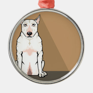 Bull Terrier vector Silver-Colored Round Decoration