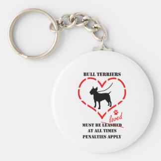 Bull Terriers Must Be Loved Key Ring