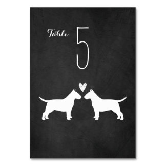 Bull Terriers Wedding Table Card