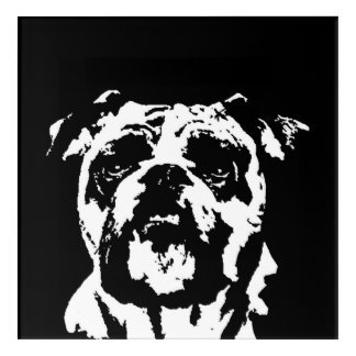 Bulldog Black & White Acrylic Wall Art