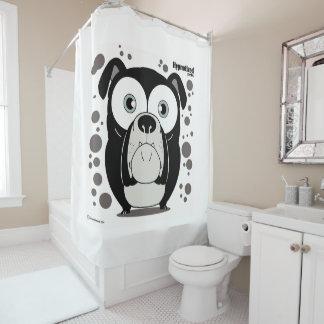 Bulldog (Black, White Bg) Shower Curtain