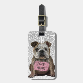 Bulldog Free Hugs Luggage Tag