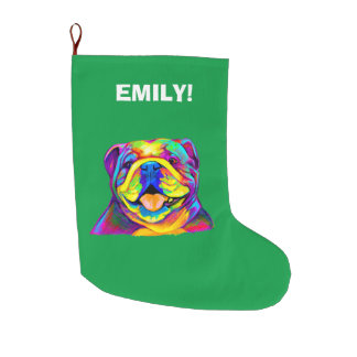 Bulldog in Colours at Christmas Large Christmas Stocking
