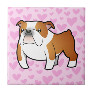Bulldog Love Small Square Tile