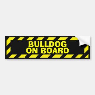 Bulldog on board yellow caution sticker