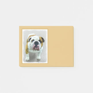 Bulldog Painting - Cute Original Dog Art Post-it Notes