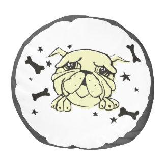 Bulldog Print Pouf