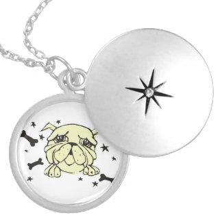 Bulldog Print Round Locket Necklace