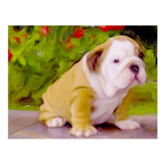 Bulldog puppy art postcard