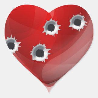 Bullet hole heart concept sticker