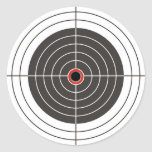 Bullet hole in the target - bull's eye shooting round sticker