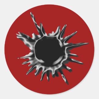 Bullet hole shot classic round sticker