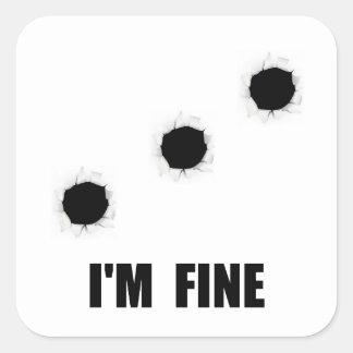 Bullet Holes Fine Square Sticker