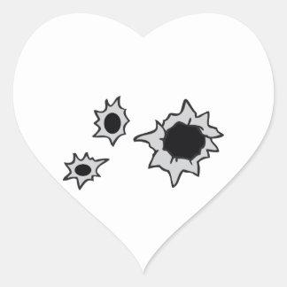 BULLET HOLES HEART STICKER