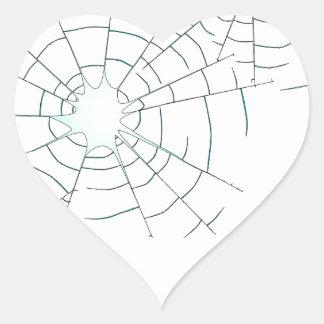 Bullet Holes in Glass Heart Sticker