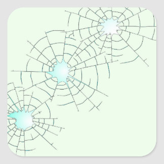 Bullet Holes in Glass Square Sticker