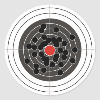 Bullet holes in target - but not the bulls-eye! classic round sticker