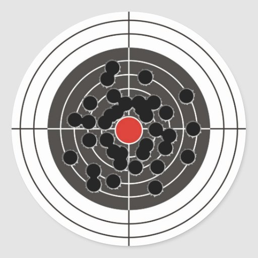 Bullet holes in target - but not the bulls-eye! round sticker