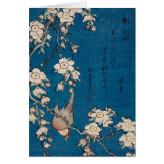 Bullfinch on a Weeping Cherry Branch by Hokusai Card